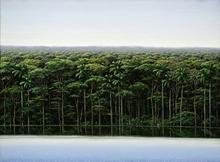 Tomás SANCHEZ - Painting - Orilla y Meditador