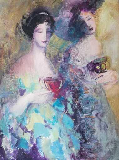 "Irina BELOPUKHOVA - Painting - ""Girlfriends"" Young mysterious women"