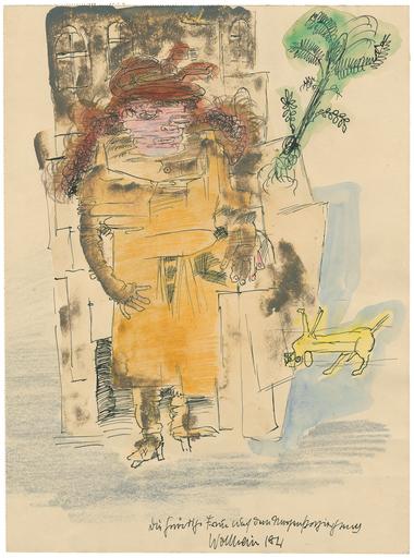 """Gert Heinrich WOLLHEIM - Drawing-Watercolor - """"Die Gnädige Frau auf dem Morgenspaziergang""""."""