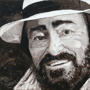 Peter ENGELS - Painting - Luciano Pavarotti - Black Ribbon on my Hat