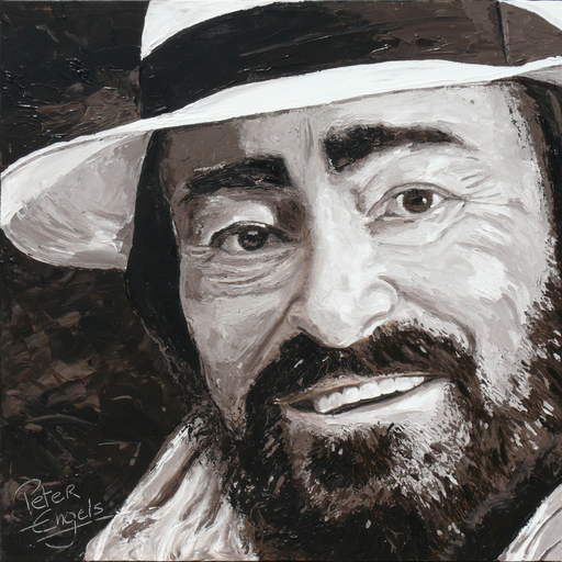 Peter ENGELS - Pintura - Luciano Pavarotti - Black Ribbon on my Hat