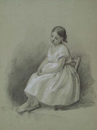 "Theodor PETTER - Drawing-Watercolor - ""Study of a Little Girl"" by Theodor Petter, ca 1850"