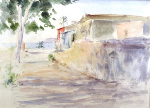 Pedro SERNA - Drawing-Watercolor - La casa roja
