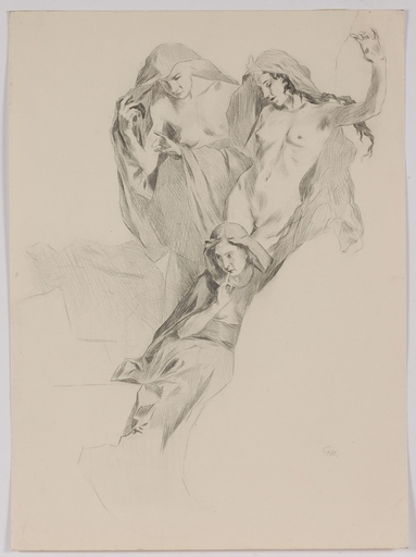 """Gottlieb Theodor KEMPF-HARTENKAMPF - Dessin-Aquarelle - """"Study for a Painting"""", early 20th Century"""