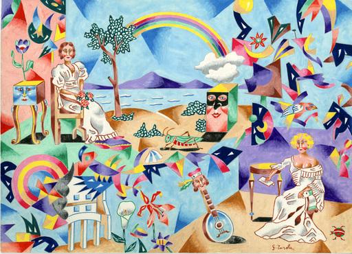 Gabriele TUROLA - Painting - L' arcobaleno pittore_tempera su carta
