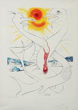 Salvador DALI - Grabado - The Caduseus of Mars Nourished by the Ball of Fire of Jupite