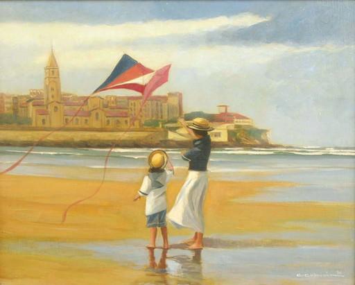 Carlos COBIÁN GIL-DELGADO - Painting - Niños en la playa de Gijón