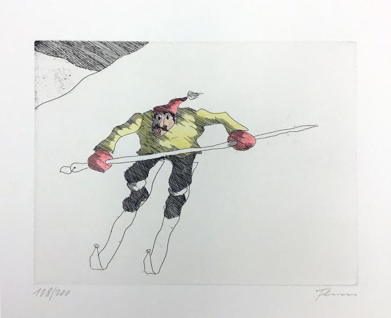 Paul FLORA - Druckgrafik-Multiple - Rasender Schipionier