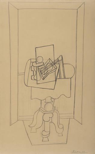 Pablo PICASSO - Zeichnung Aquarell - Nature morte sur un guéridon devant une fenêtre ouverte