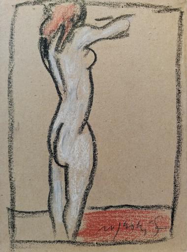 Franco ROGNONI - Drawing-Watercolor - Nudo di lato