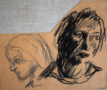 Mario SIRONI - Dessin-Aquarelle - Heads of Two Women