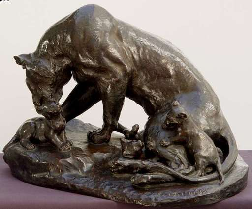 Charles VALTON - Sculpture-Volume - Lioness with her Cubs