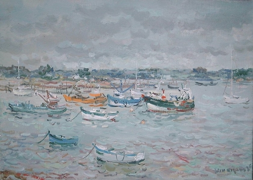 Jean RIGAUD - Pittura - Port Blanc, crachin