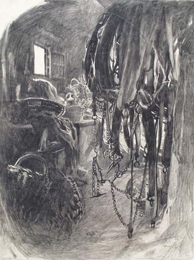 "Franz Xaver WOLF - Disegno Acquarello - ""In Stable"" by Franz Xaver Wolf, ca 1940"