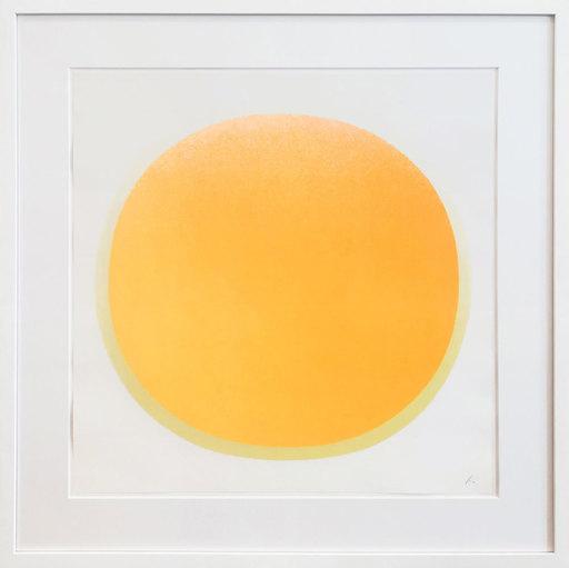 Rupprecht GEIGER - Grabado - Orangener Kreis mit gelbem Kranz auf weiß