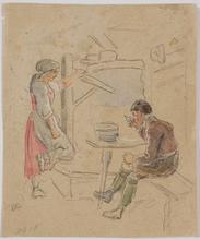 "Eduard RITTER - Dibujo Acuarela - ""Tyrolean Peasant Scene"" by Eduard Ritter, early 19th C"