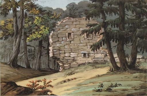 "Alexander Johann DALLINGER VON DALLING - 水彩作品 - ""Ruin in Forest"", early 19th century"