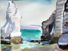 Mathurin MÉHEUT - Drawing-Watercolor - Etretat