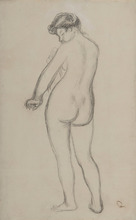 Pierre-Auguste RENOIR - Dessin-Aquarelle - Baigneuse de dos s'essuyant