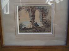 Jules COIGNET - Drawing-Watercolor - homme assis dans une ruine