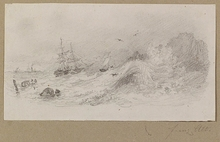 Franz ALT - Dibujo Acuarela -  Ship in Gale, Drawing, late 19th Century