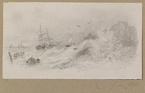 Franz ALT - 水彩作品 -  Ship in Gale, Drawing, late 19th Century