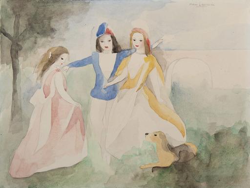 Marie LAURENCIN - Drawing-Watercolor - Trois femmes jouant avec un chien