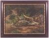 """Gemälde - Forest Stream"""" attributed to Anton Hansch, ca 1850"""