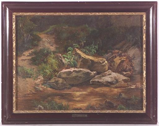 """Anton HANSCH (Attrib.) - Peinture - Forest Stream"""" attributed to Anton Hansch, ca 1850"""