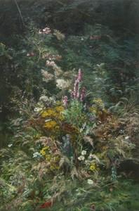 Henri-Arthur BONNEFOY - Painting - Un coin fleuri près de Boulogne-sur-mer