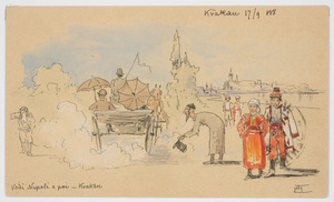 """Ludwig Hans FISCHER - Dibujo Acuarela - """"Post-card from Cracow"""" drawing"""