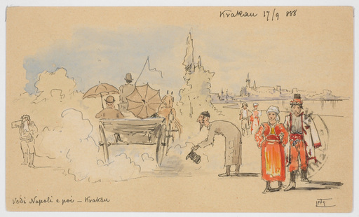 "Ludwig Hans FISCHER - Dibujo Acuarela - ""Post-card from Cracow"" drawing"