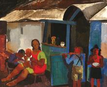 Vilmos ABA-NOVAK - Painting - Figures in the Village