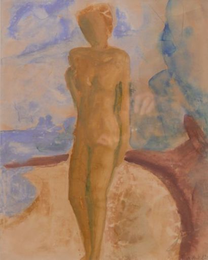 Erich HECKEL - Drawing-Watercolor - Stehender Akt am Strand