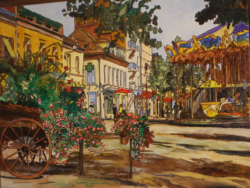 Joël FOUGMAN - Painting - Place Fleurie