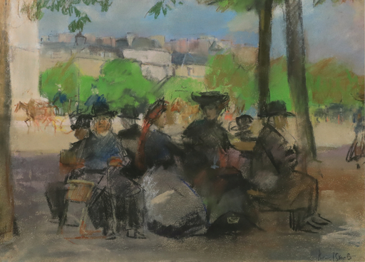 Isaac Lazarus ISRAELS - Drawing-Watercolor - Figures in a Park, Paris