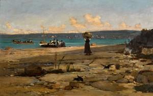 François BOCION - Painting - Embarquement des Savoyards d'Excenevex