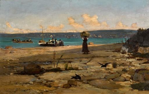 François BOCION - Gemälde - Embarquement des Savoyards d'Excenevex