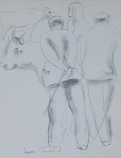 Marcel LEMAR - Zeichnung Aquarell - Les marchands de bestiaux