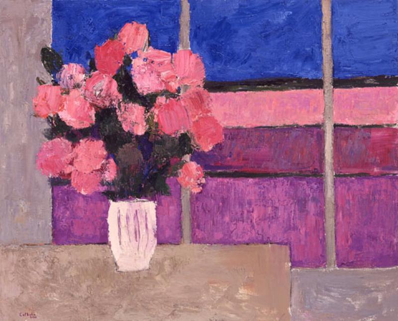 Bernard CATHELIN - Painting - Hortensias et aux Champs de Lavande