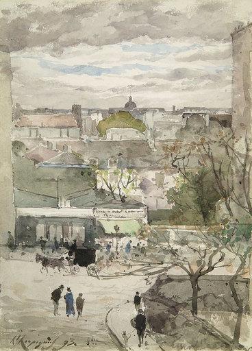 Henri Joseph HARPIGNIES - Zeichnung Aquarell - Vue de Paris depuis la rue Gracieuse