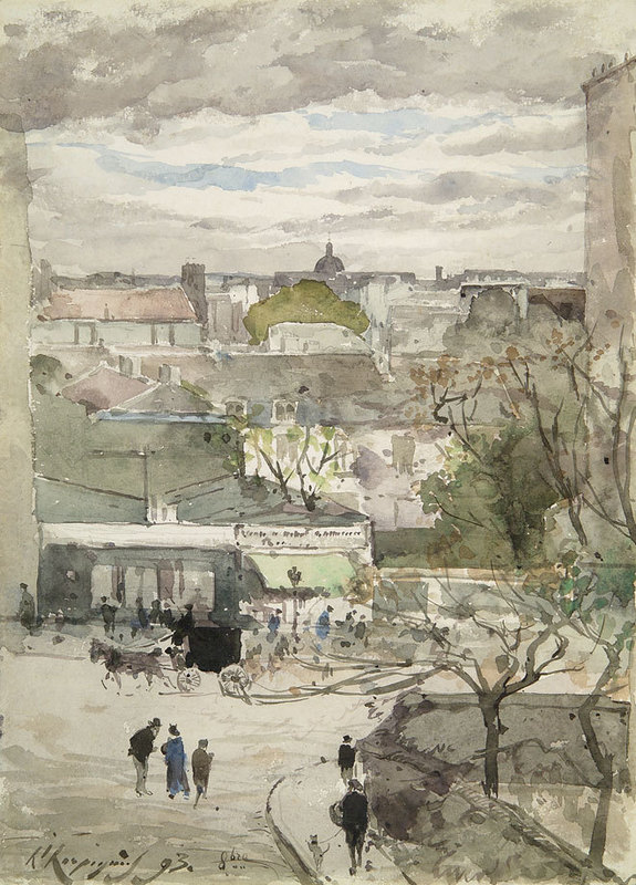 Henri Joseph HARPIGNIES - Disegno Acquarello - Vue de Paris depuis la rue Gracieuse