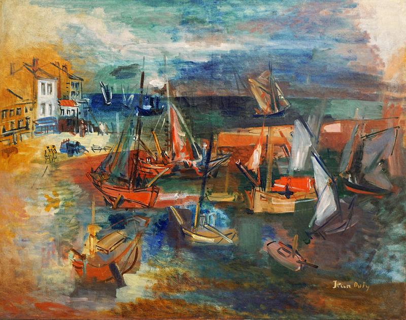 Jean DUFY - Peinture - Port de l'île d'Yeu