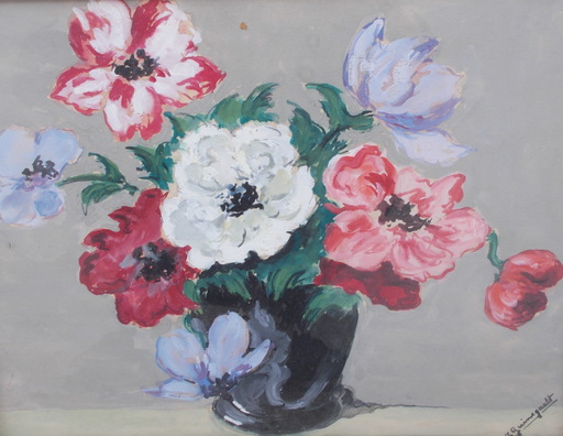Jean Paul GUINEGAULT - Disegno Acquarello - Le bouquet