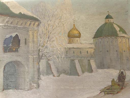 Boris Melitonowitsch BOGOLJUBOW - Pintura - Paysage enneigé à Zvenigorod