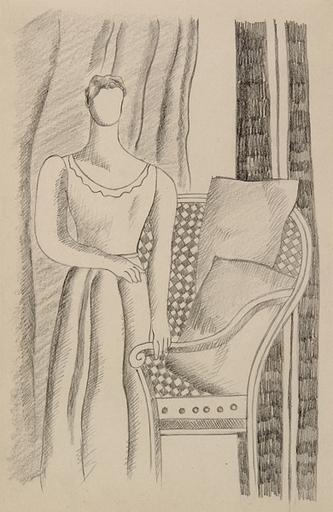 Fernand LÉGER - Dessin-Aquarelle - Etude pour le portrait de Madame Chester Dale