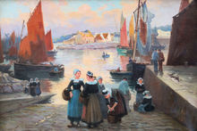 Henri Alphonse BARNOIN - Painting - « Retour de pêche au passage Lanriec »