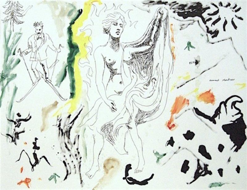 Manuel MONTERO - Dessin-Aquarelle - Nietzsche et Leda