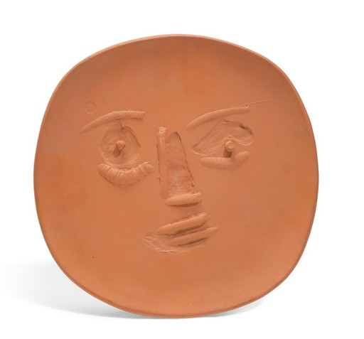 Pablo PICASSO - Ceramic - Visage lunaire en relief
