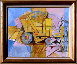 Jacques DESPIERRE - Pittura - Batteuse Jaune